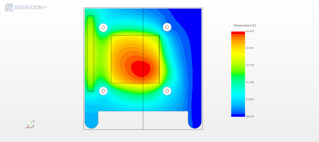 Temperature field on the cold plate surface.